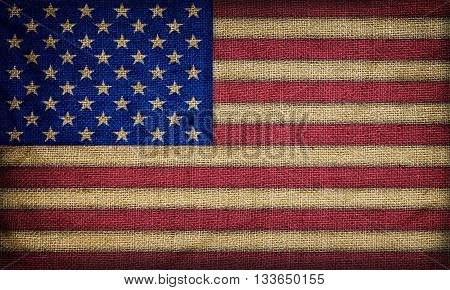 Background made of Old vintage American flag
