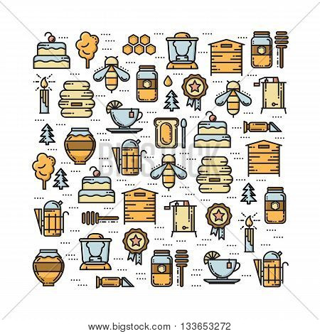 Square card with apiary thin line colored icons set. Bee honey hive beekeper jar smoker extractor refractomoter and forest icons. Vector illustration.