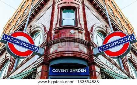 London UK - June 6 2016 - Covent Garden station and iconic signs for the London's underground transpiration system. Covent Garden in London's West End is a popular destination for visitors and Londoners.
