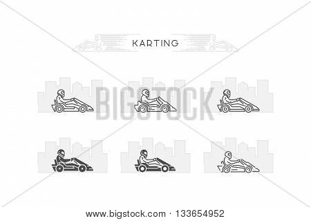 Vector line karting symbol. Linear sport logo for go kart.