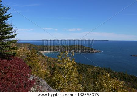 View over Sand Beach from the Gorham Trail in Acadia National Park, Mount Desert Island, Maine, USA
