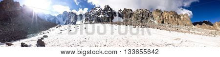 Panorama of glacier and rocky mountain summits in Tian Shan mountains
