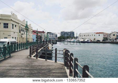 Pier in Bridgetown, Barbados in the Caribbean