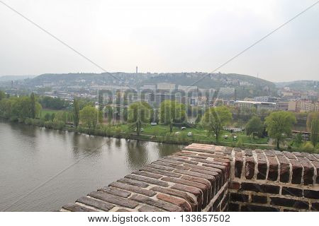 Pearl of architecture and gastronomic tourism the capital of the Czech Republic. Prague the embankment of the Vltava river.
