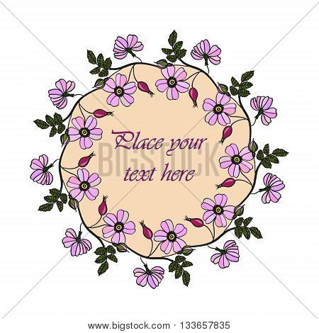 Vector round frame with the briar brier . Vector lilac eglantine frame. Invitation template card. Save the date vector circular illustration.