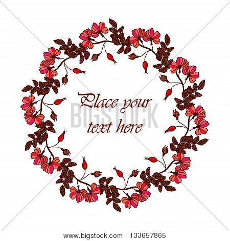 Vector round frame with the briar brier . Vector red eglantine frame. Invitation template card. Save the date vector circular illustration.