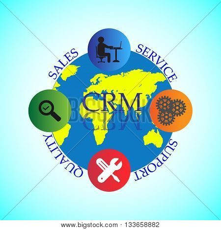 Concept of CRM Life Cycle Customer relationship management use to manage and analyse data throughout the customer lifecycle with the goal of improving world wide business relationships with customers