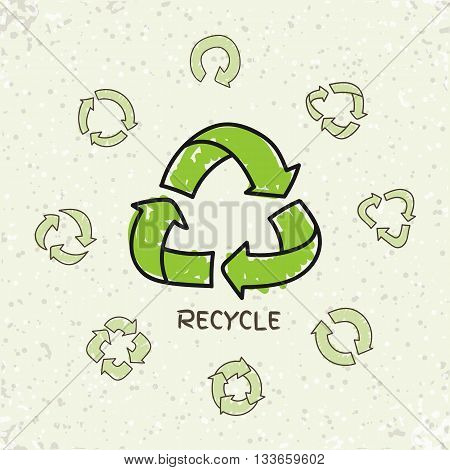 Set of hand drawn doodle recycle reuse symbols isolated on craft paper background. Doodle vector recycle icon. Recycle signs, recycling icons