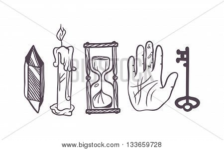 Vector esoteric symbol sketch hand drawn. Religion, philosophy, spirituality, occultism, chemistry, science, magic esoteric symbol. Design esoteric icon tattoo element.