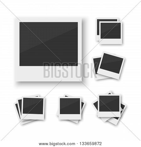 Set of blank vintage paper photo frame from instant camera with shadow with paper clip isolated on white for images. Realistic vector illustration of photo frame with space for images and photos. Photo frame vector collection, Photo frame stack