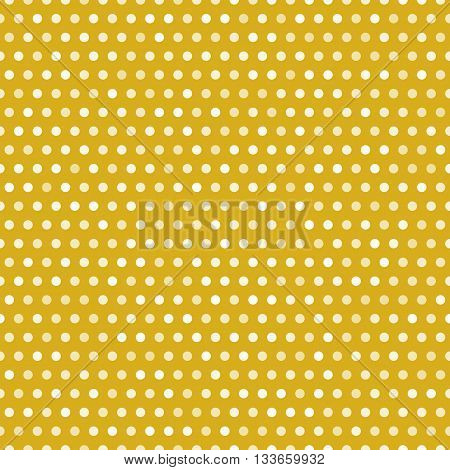 Gold seamless pattern with white dots, vector illustration. Polka dots background with random opasity dots. Repeating abstract polkadots pattern with circles