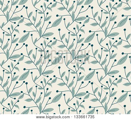 Vector Seamless Pattern. Modern Stylish Hand Drawn Floral Texture With Structure Of Repeating Tree B