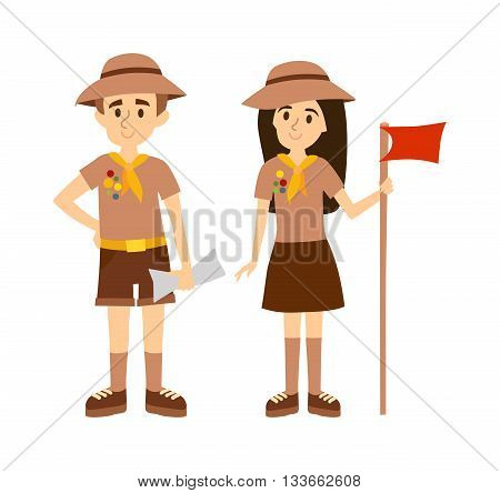 Children scout people adventure camping. Vector scout people flat cartoon illustration and scout people childhood tourism. Hiking recreation design tourist group. Scout boy and scout girl.