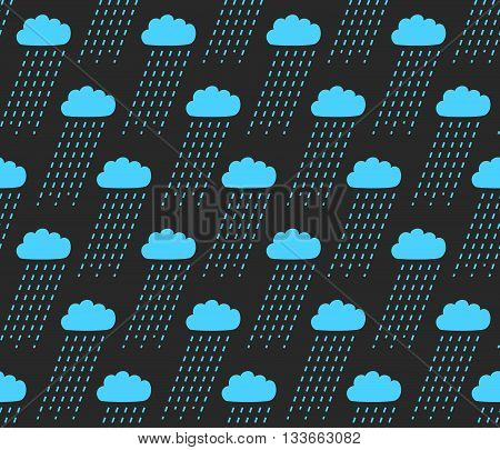 Vector Seamless Pattern. Modern Stylish Texture With Structure Of Repeating Clouds With Rain. Tileab