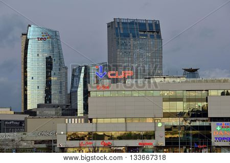 VILNIUS LITHUANIA - NOVEMBER 11: Office buildings in Vilnius on November 11 2015 in Vilnius Lithuania. Vilnius is the capital of Lithuania and its largest city.