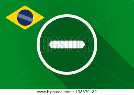 Long Shadow Brazil Flag With A Subtraction Sign