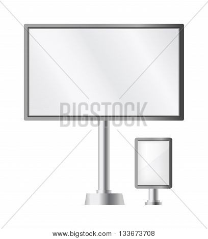 Pillar banner billboard ad vector illustration. advertisement templates isolated. Vector pillar billboard ad advertising billboard sign and pillar poster display. Commercial empty pillar billboard