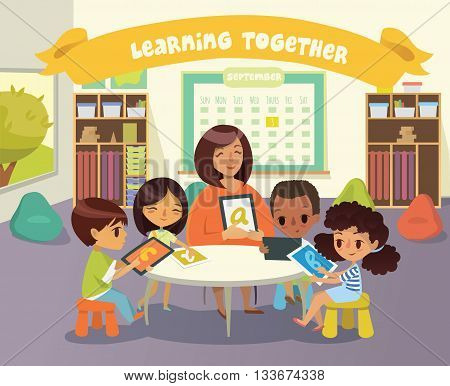 Group of Children and Tiitor with tablets in a classroom. School lesson illustration. Education using the devices. Caring for the disabled child. Handicapped Kid. Vector. Isolated.