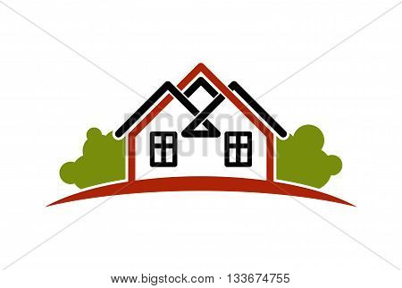 Abstract vector houses with horizon line can be used in advertising