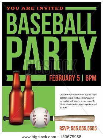Baseball Party Flyer Template Illustration