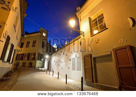 VILNIUS LITHUANIA - MARCH 16: The Old Town of Vilnius on March 16 2015 in Vilnius Lithuania. In 1994 the Vilnius Old Town was included in the UNESCO World Heritage List.