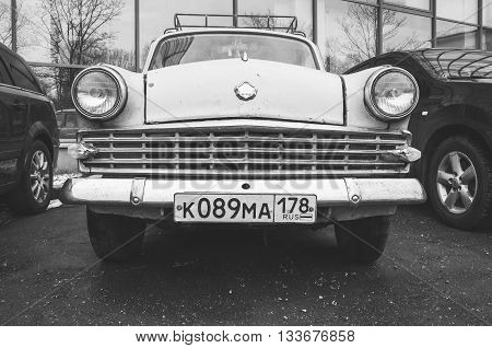 Gray Old-timer Moskvitch-403 Compact Car