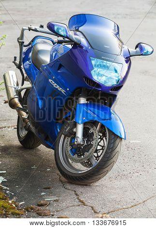 Blue Honda Cbr1100Xx Super Blackbird