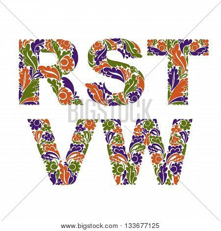 Autumn Style Vector Font, Typeset With Eco Floral Ornament. R, S, T, V, W.