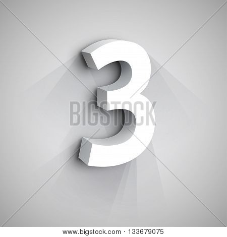 3d Number Three. White figure 3 on Gray Background