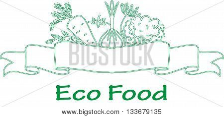 Organic and farm fresh food badge or label