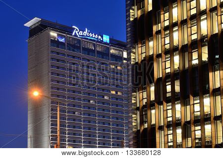 VILNIUS NOVEMBER 05: Radisson Blu Hotel Lietuva on November 05 2014 in Vilnius Lithuania. Radisson Hotels is an international hotel company with more than 420 locations in 73 countries