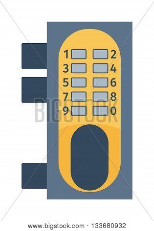 Modern door lock, contemporary satin handle door lock and keyhole detail door lock vector icon. Door lock house safety and protection entrance access open handle keyhole. Interior steel secure design.