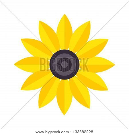 Flat yelow flower and flower icon. Nature home plant flower pot and spring decoration flower. Flower lgarden bloom flat vector. Spring colorful garden flower yellow color