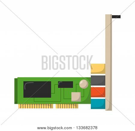 Sound card for computer isolated on white background and vector sound card computer. Cart hardware technology sound card and sound card computer equipment device music electronic chip.