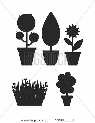 Home bush plant in pot culture black silhouette on white background set of indoor home plant and tree in pots. Home pot plant tree plants with flowers and leaves. Botany gardening flower home tree.