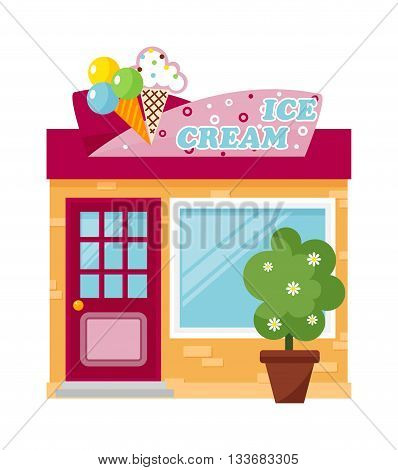 Cold ice cream bar and ice cream store vector. Fresh ice cream store summer cold product and frozen delicious ice cream store. Tasty ice cream store front and ice cream showcase tasty market.