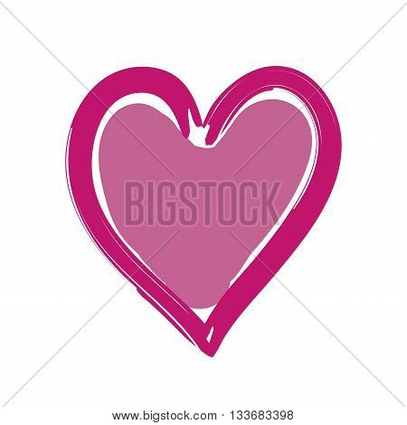Heart pink bright icon. Drawing brush shape sign isolated on white background. Grunge design handmade card. Symbol of love Valentine Day holiday and romantic marriage proposal. Vector illustration