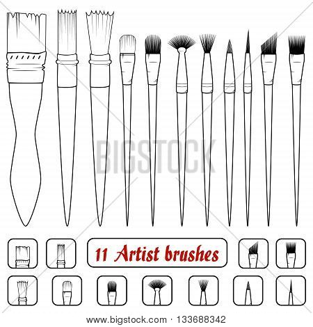 vector. Set of 11 art brushes. Icons of filbert brush linear brush angular brush dotting brush texture brush bristle brushmop brushtuft brushpointed brushrigger brush fan brushcoating brush