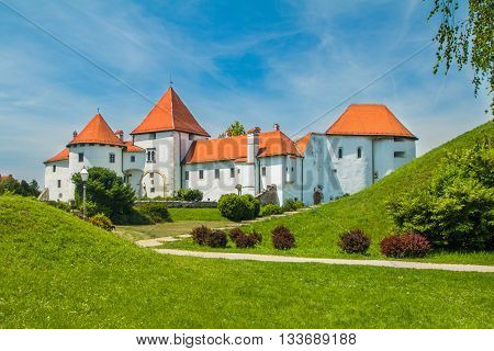City park and old castle in Varazdin, Croatia, originally built in the 13th century poster