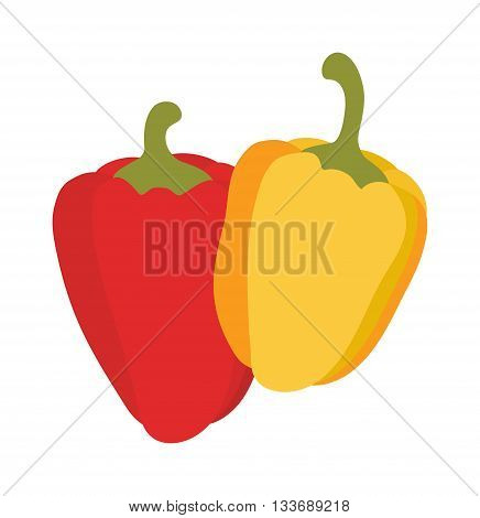 Vegetarian red pepper and yellow pepper. Yellow and red vegetarian organic gourmet freshness orange cooking pepper. Colored peppers healthy vegetable vegetarian food flat vector illustration.