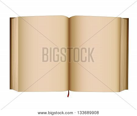Open book with empty pages. Blank pages old style open book journal or diary. Vector isolated illustration.