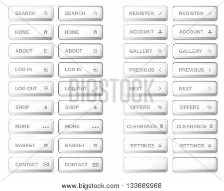 Vector.Isolated white bar web buttons. Plastic buttons icons for internet: search buttonhome buttonshoplog in button log out buttongallery buttoncontact button basket button.Plus pushed buttons