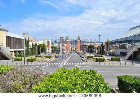 Barcelona. View of the Spain square in a sunny summer day