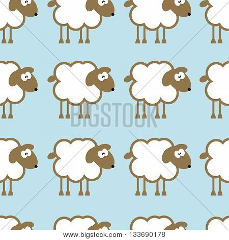 Seamless pattern with sheep on blue background. For cards, invitations, baby shower albums, backgrounds and scrapbooks. Can be used for wallpapers. Vector illustration.