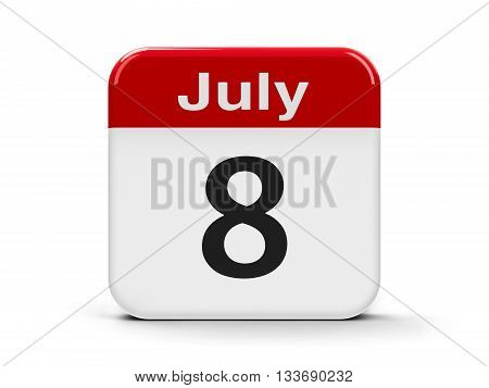 Calendar web button - The Eighth of July three-dimensional rendering 3D illustration