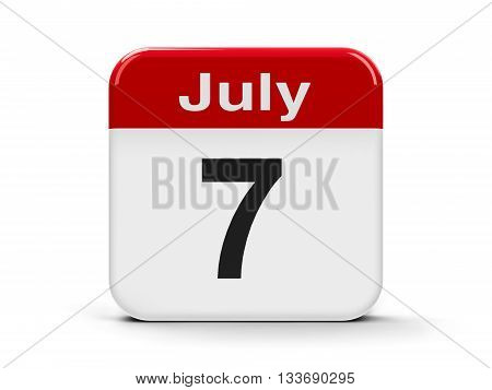 Calendar web button - The Seventh of July three-dimensional rendering 3D illustration