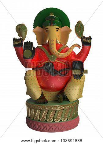 3D rendering of Ganesha isolated on white background