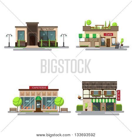 Vector set of detailed flat design city public buildings. Restaurants and cafe cafeteria coffee house and bub facade icons on white background