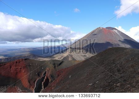View of Mount Ngauruhoe and the Red Crater while walking the Tongariro Crossing in New Zealand. Also known as Mount Doom from the Lord Of the Rings Films