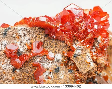 Vanadinite Crystals On Rock Close Up